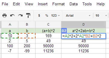 Verifying formulas with spreadsheets