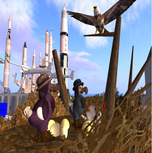 """This doesn't look good, George.""  A couple of grad student dodos meet their match while leading a tour of ISM in SL."
