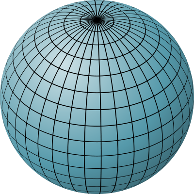 Longitude and Latitude lines on a sphere. Image Source: http://en.wikipedia.org/wiki/File:Sphere_filled_blue.svg