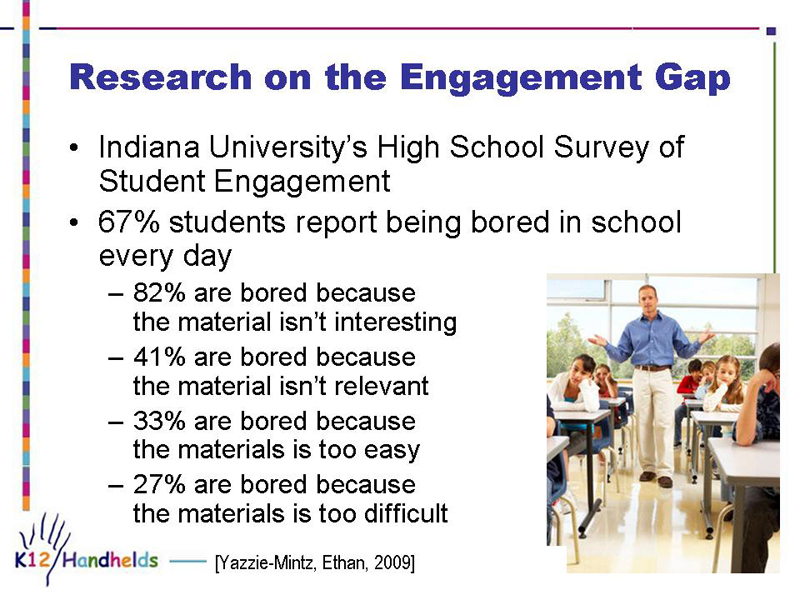Research on the Engagement Gap - Indiana University's High School Survey of Student Engagement - 67% students report being bored in school every day - 82% are bored because the material isn't interesting - 41% are bored because the material isn't relevant - 33% are bored because the materials is too easy - 27% are bored because the materials is too difficult